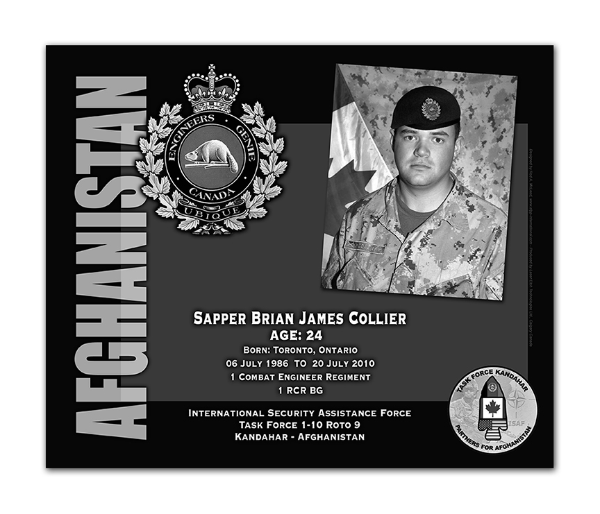 Plaque– This was the laser engraved granite plaque that we designed to mark the unfortunate passing of Sapper Collier.  