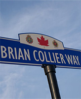 Brian Collier Way– A street sign on Brian Collier Way, which runs between (and provides access to) the Bradford West Gwillimbury Leisure Centre and the Library and Cultural Centre, in Bradford, Ontario.  Depicted near the top of the sign are the Canadian Armed Forces' badge, a red Canadian maple leaf and the Canadian Military Engineers' badge.  (Image taken by Gregory J. Barker of Barrie, Ontario, in 2012.)