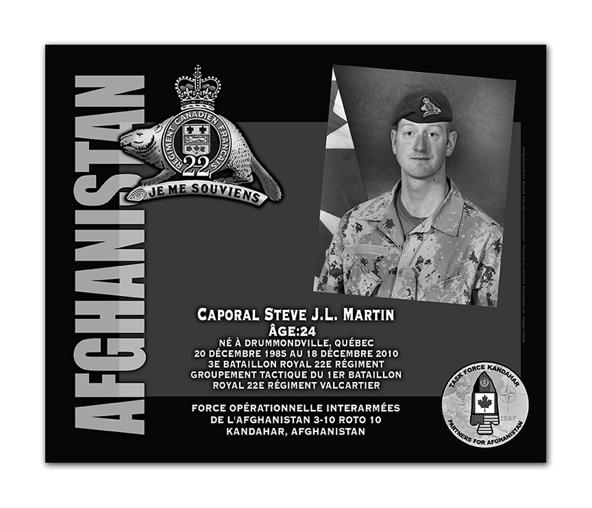 Plaque– This was the laser engraved granite plaque that we designed to mark the unfortunate passing of Cpl Martin.  