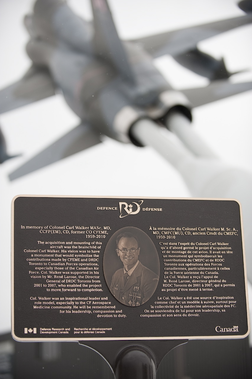 Memorial– Colonel Carl Walker F-5 plane and plaque at DRDC Toronto