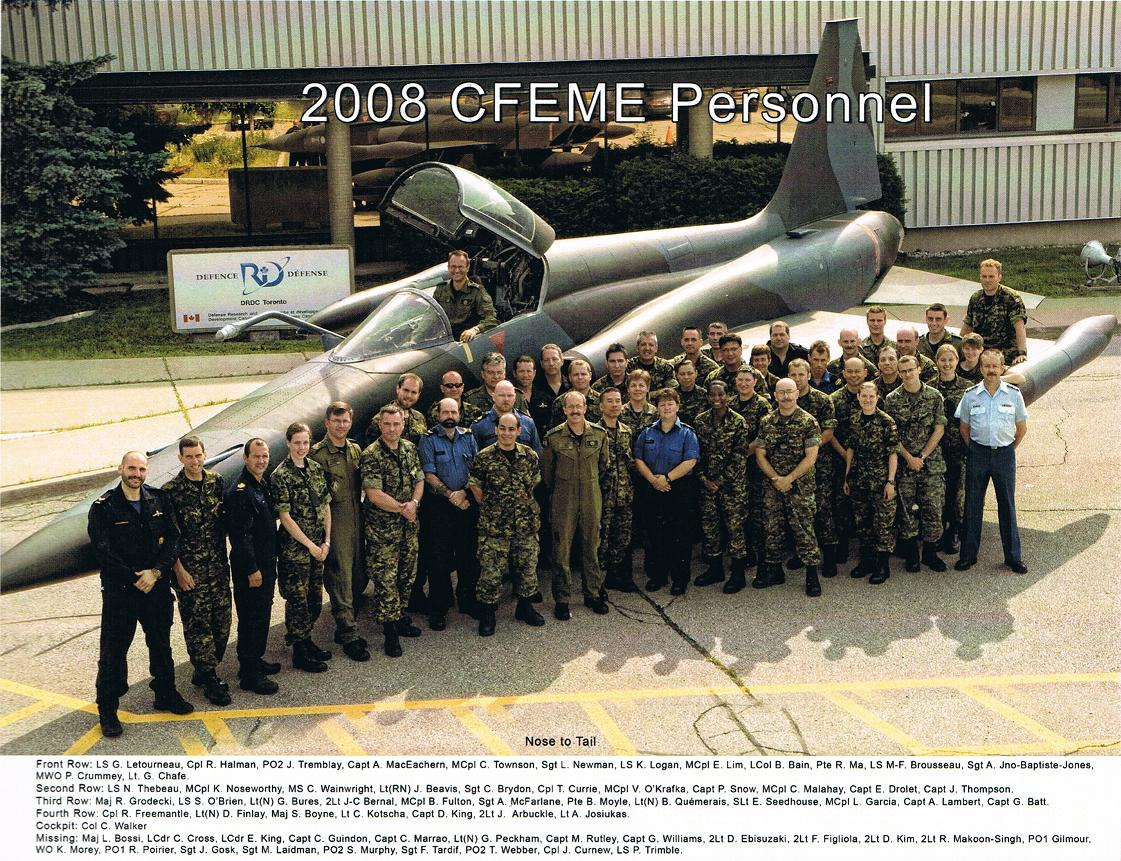 Group Photo– Colonel Carl Walker F-5 plane and plaque at DRDC Toronto