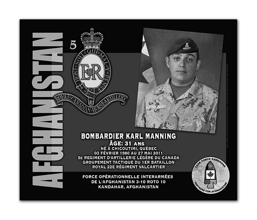 Plaque– This was the laser engraved granite plaque that we designed to mark the unfortunate passing of Bombardier Manning.  