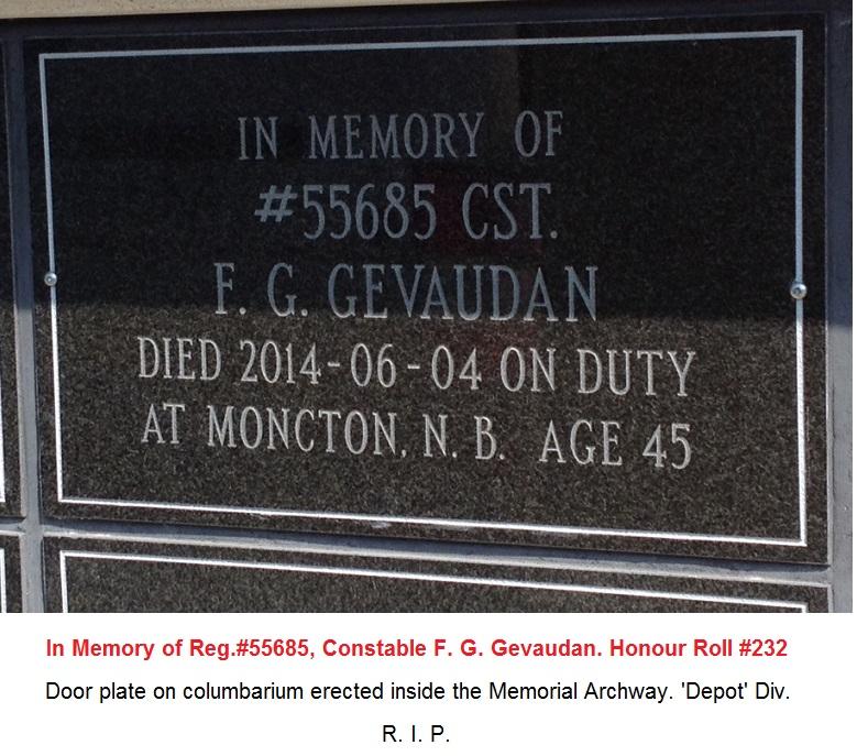 En mémoire du gendarme F G Gevaudan