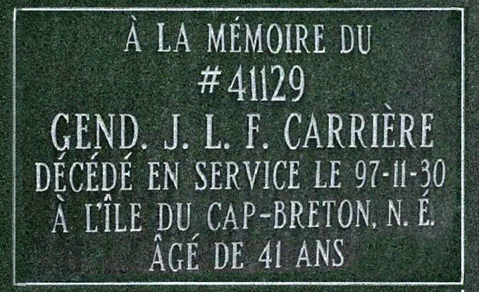 Constable Carrière's Memorial Plaque at Depot Cemetery, Regina, SK– Photo courtesy of www.rcmpgraves.com