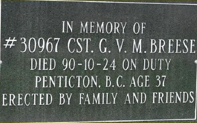Constable Breese's Memorial Plaque– Photo courtesy of www.rcmpgraves.com