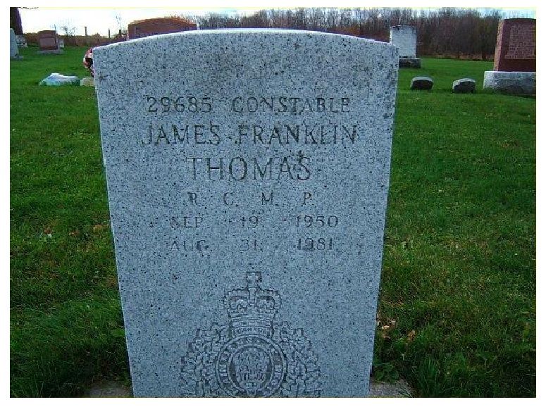 Inscription on Grave marker– Photo courtesy of www.rcmpgraves.com