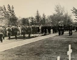 """Funeral– Two photo's of funeral of Herschel Taylor Wood.  Photo's belonged to my father in law, who was with the Canadian Provost Corps at that time.  He is in both of the photo's, dressed in """"full dress"""" of the Canadian Provost Corps.  His name was Staff Sgt George Edwin Grant"""