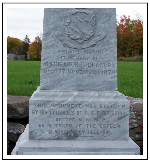 Monument– RCMP National Cemetery in Beechwood Cemetery.  Photo courtesy of www.rcmpgraves.com