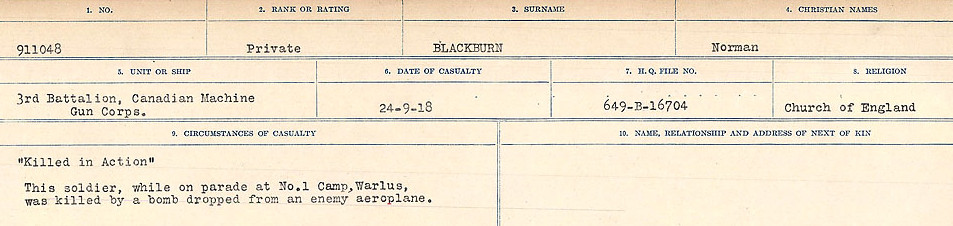 Circumstances of Death Registers– Source: Library and Archives Canada.  CIRCUMSTANCES OF DEATH REGISTERS FIRST WORLD WAR Surnames: Birch to Blakstad. Mircoform Sequence 10; Volume Number 31829_B034746; Reference RG150, 1992-93/314, 154 Page 461 of 734