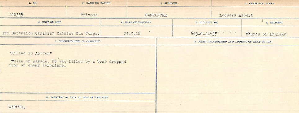 Circumstances of Death Registers– Source: Library and Archives Canada.  CIRCUMSTANCES OF DEATH REGISTERS, FIRST WORLD WAR Surnames:  Canavan to Caswell. Microform Sequence 18; Volume Number 31829_B016727. Reference RG150, 1992-93/314, 162.  Page 391 of 1004.