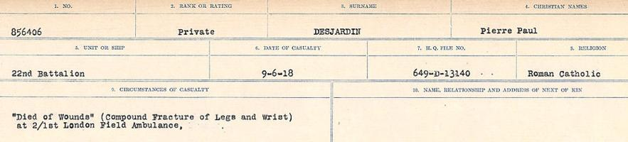 Circumstances of death registers– Source: Library and Archives Canada. CIRCUMSTANCES OF DEATH REGISTERS, FIRST WORLD WAR. Surnames: Davy to Detro. Microform Sequence 27; Volume Number 31829_B016736. Reference RG150, 1992-93/314, 171. Page 953 of 1036.