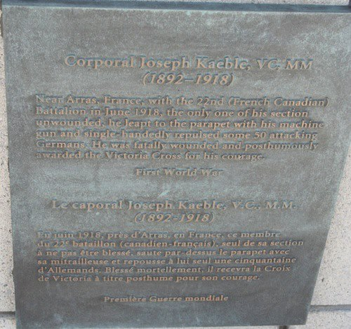 Inscription– Cpl. Joseph Kaeble, VC plaque