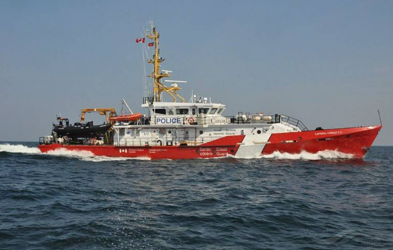CCGS Caporal Kaeble V.C– Starting its active service in November 2012, the Canadian Coast Guard Ship (CCGS) Caporal Kaeble V.C. is a mid-shore patrol vessel. It is one of nine Hero-class patrol vessels ordered by the Department of Fisheries and Oceans/Canadian Coast Guard, in September 2009. Each of the nine Hero-class patrol vessels will be named for personnel from the Royal Canadian Mounted Police (RCMP Officers), Canadian Coast Guard (sailors, aircrew), Department of Fisheries and Oceans (fisheries officers) and Canadian Forces (soldiers, sailors, and aircrew) who are credited with performing exceptional or heroic acts during their service.