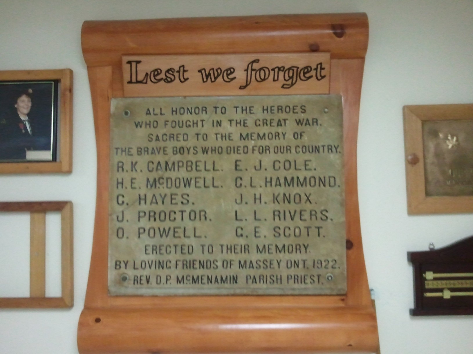 War Memorial– http://cefresearch.ca/wiki/index.php/Massey,_ON Memorial Plaque, Massey Legion Research by Canadian Expeditionary Force Study Group