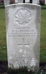 Grave Marker– Grave marker for Lt. Douglas Thomson Courtesy of Wilf Schofield, England, 2009.