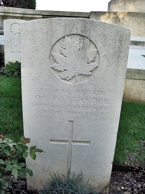 Grave Marker– The present day grave marker at La Chaudiere Military Cemetery located at the foot of Vimy Ridge, very near the town of Vimy, France. The cemetery is 13 kilometres north of Arras, France. May he rest in peace. (John & Anne Stephens 2013)