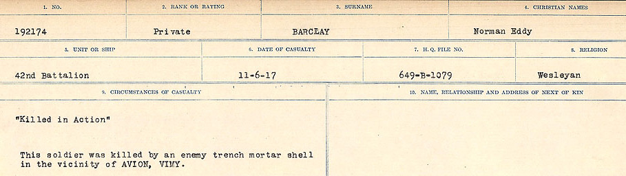 Circumstances of Death Registers– Source: Library and Archives Canada.  CIRCUMSTANCES OF DEATH REGISTERS, FIRST WORLD WAR Surnames:  Babb to Barjarow. Microform Sequence 5; Volume Number 31829_B016715. Reference RG150, 1992-93/314, 149.  Page 1013 of 1072