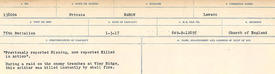 Newspaper Clipping– Source: Library and Archives Canada.  CIRCUMSTANCES OF DEATH REGISTERS, FIRST WORLD WAR Surnames:  Bark to Bazinet. Mircoform Sequence 6; Volume Number 31829_B016716. Reference RG150, 1992-93/314, 150.  Page 327 of 1058.