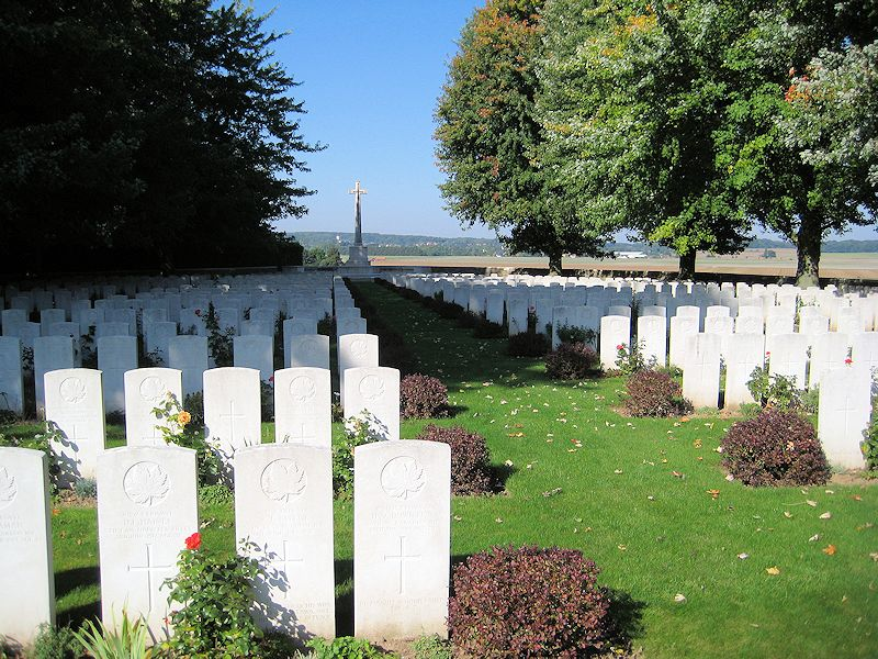 La Chaudiere Military Cemetery– The grave marker at La Chaudiere Military Cemetery located at the foot of Vimy Ridge, very near the town of Vimy, France. The cemetery is 13 kilometres north of Arras, France. May he rest in peace. (John & Anne Stephens 2013)