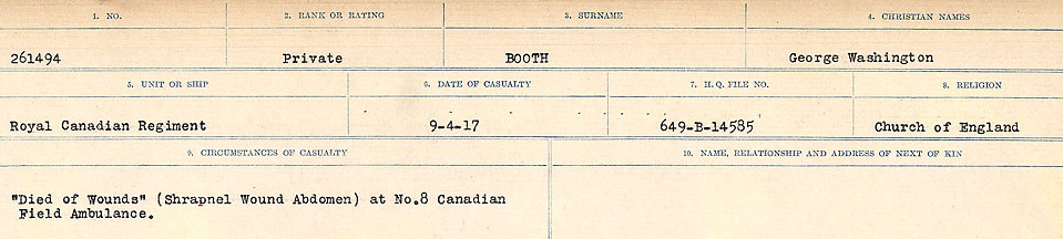 Circumstances of Death Registers– Source:  Library and Archives Canada.  CIRCUMSTANCES OF DEATH REGISTERS FIRST WORLD WAR Surnames: Blampie to Booth; Mircoform Sequence 11; Volume Number 131829_B016720; Reference RG150, 1992-93/314, 155 Page 737 of 762