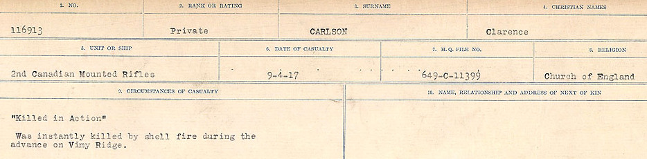 Circumstances of Death Registers– Source: Library and Archives Canada.  CIRCUMSTANCES OF DEATH REGISTERS, FIRST WORLD WAR Surnames:  Canavan to Caswell. Microform Sequence 18; Volume Number 31829_B016727. Reference RG150, 1992-93/314, 162.  Page 273 of 1004.
