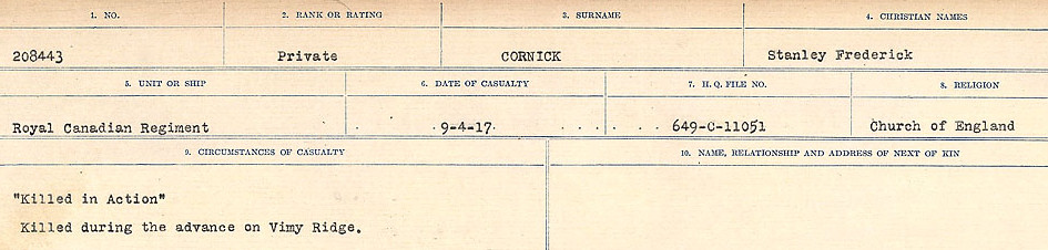 Circumstances of Death Registers– Source: Library and Archives Canada.  CIRCUMSTANCES OF DEATH REGISTERS, FIRST WORLD WAR Surnames:  CORBI TO COZNI.  Microform Sequence 23; Volume Number 31829_B016732. Reference RG150, 1992-93/314, 167.  Page 161 of 900.