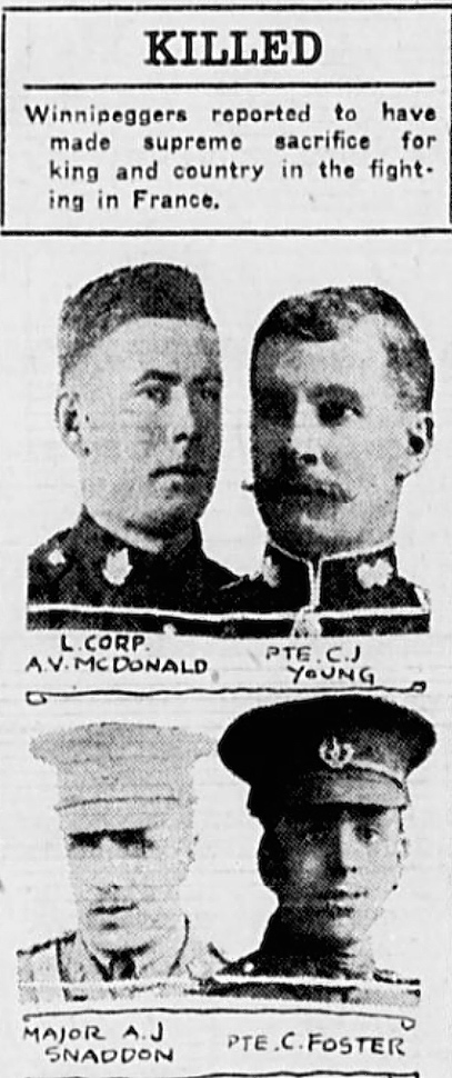 Photo of CYRIL FOSTER– In memory of the men and women memorialized on the pages of the Winnipeg Evening Tribune during World War One. Submitted for the project, Operation: Picture Me