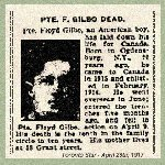 "Newspaper Clipping– Pte. William Floyd Gilbo enlisted in the 97th Battalion.  This unit was one of the  ""American Legion"" battalions that recruited men with American origins."