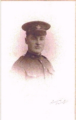 Photo of George Alfred Harwood– George's picture taken in early 1917 before joining his unit 2nd CMR on their way to Vimy Ridge.  He died on the first day of the invasion April 9, 1917.