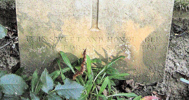 "Inscription– Epitaph: ""It Is Sweet and Honorable to Die for One's Country""  (John & Anne Stephens 2013)"