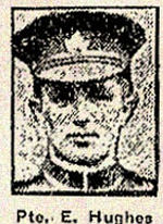 Newspaper clipping– Pte. Edward Hughes enlisted with the 83rd Battalion in Toronto on August 2nd, 1915.