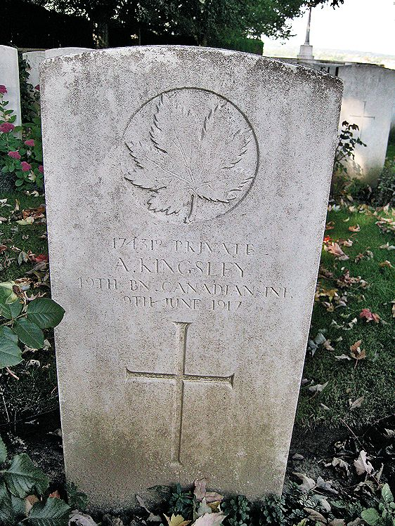 Grave Marker– The grave marker at La Chaudiere Military Cemetery located at the foot of Vimy Ridge, very near the town of Vimy, France. The cemetery is 13 kilometres north of Arras, France. May he rest in peace. (John & Anne Stephens 2013)