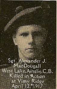 Photo of Alexander McDougall– From the book, Catholics of the Diocese of Antigonish, Nova Scotia and the Great War 1914- 1919.  Submitted for the project, Operation: PIcture Me