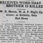 Press Clipping– source: Morning Bulletin (Edmonton); May 2, 1917, page 3