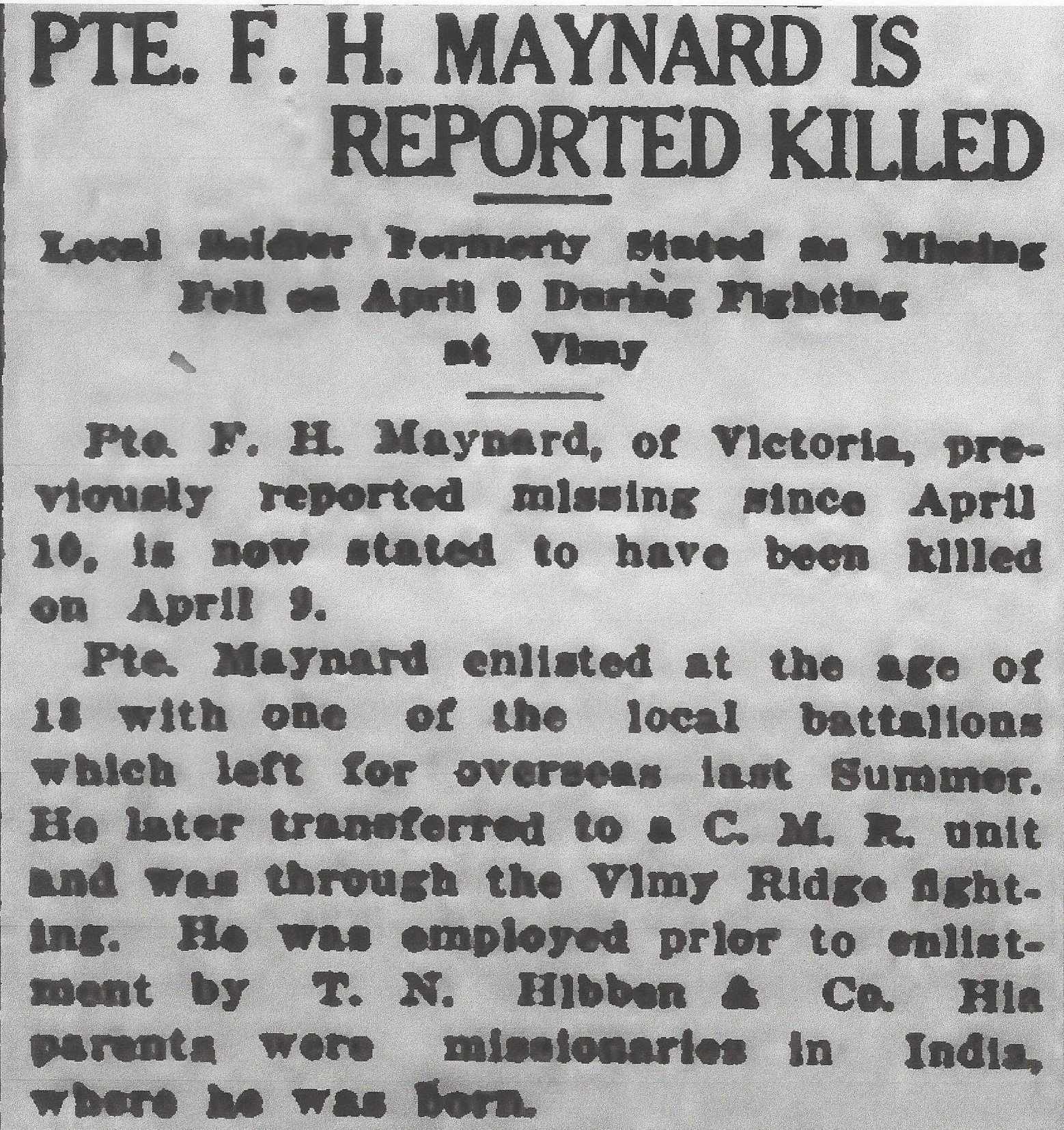 Newspaper clipping– From the Daily Colonist of May 3, 1917. Image taken from web address of http://archive.org/stream/dailycolonist59y124uvic#page/n0/mode/1up