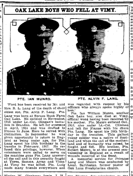 Newspaper Clipping– Manitoba Free Press, May 25, 1917