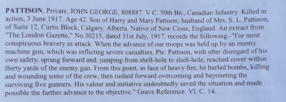 Excerpt– CWGC write up in cemetery registry.