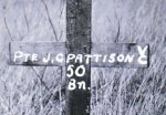 Original grave marker– The original grave marker for Private John Pattison.  The Photo is from the Glenbow Museum, Alberta.