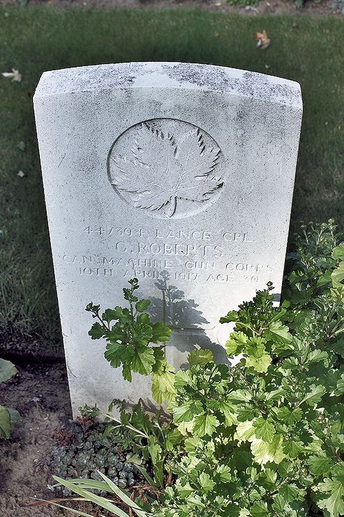Cemetery– The grave marker at La Chaudiere Military Cemetery located at the foot of Vimy Ridge, very near the town of Vimy, France. The cemetery is 13 kilometres north of Arras, France. May he rest in peace. (John & Anne Stephens 2013)