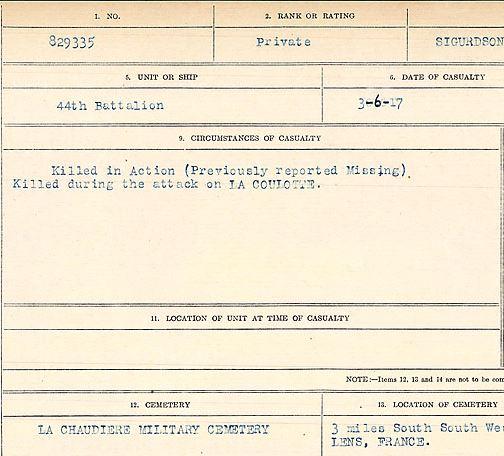 Circumstances of death registers– Private Stryggur Sigurdson