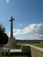 Cross of Sacrifice– View of Vimy Ridge Canadian memorial from La Chaudiere Mil Cem.