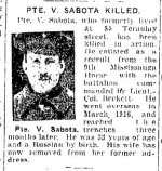 Newspaper Clipping– From the Toronto Star for 6 June 1917.