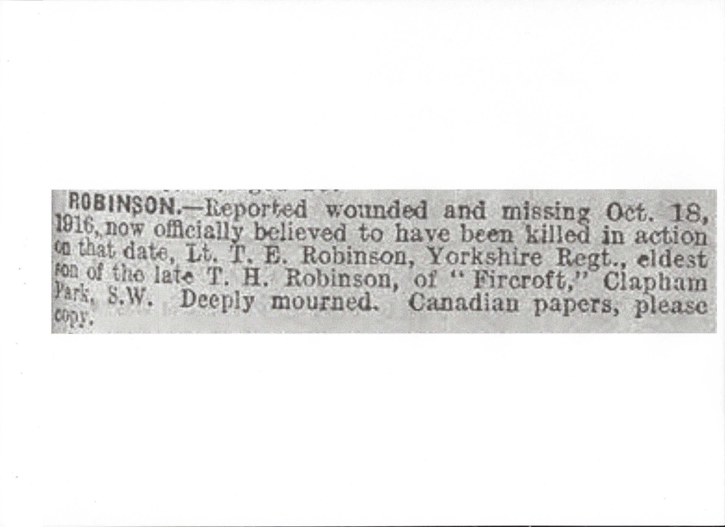 Newspaper Clipping– Newspaper clipping from the Daily Telegraph of October 18, 1917. Image taken from web address of http://www.telegraph.co.uk/news/ww1-archive/12214892/Daily-Telegraph-October-18-1917.html