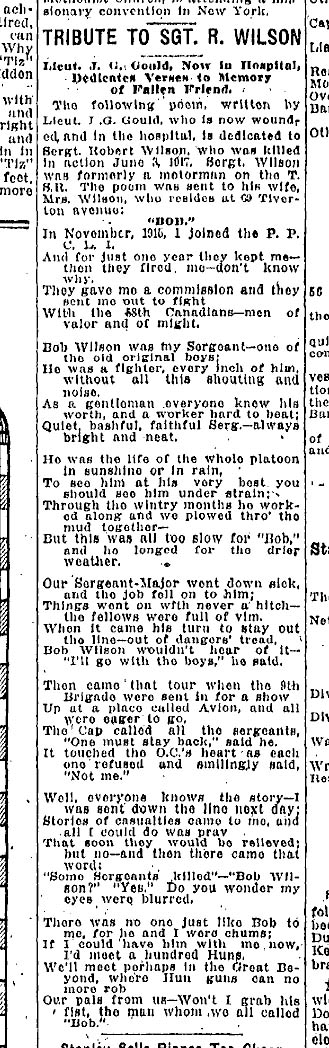 Newspaper clipping– Poem written by Lieutenant Gould in honour of Sgt. Robert Wilson, published in the Toronto Star on January 16th, 1918.
