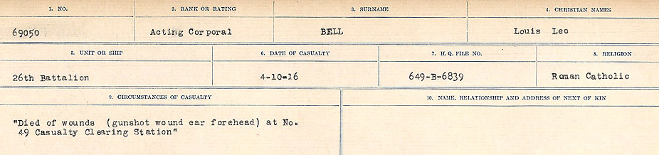 Circumstances of Death Registers– Source: Library and Archives Canada.  CIRCUMSTANCES OF DEATH REGISTERS FIRST WORLD WAR Surnames: Bernard to Binyan. Mircoform Sequence 8; Volume Number 31829_B016718; Reference RG150, 1992-93/314, 152 Page 155 of 670