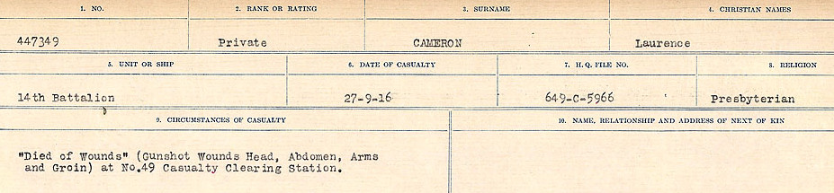 Circumstances of Death Registers– Source: Library and Archives Canada.  CIRCUMSTANCES OF DEATH REGISTERS, FIRST WORLD WAR Surnames:  Cabana to Campling. Microform Sequence 17; Volume Number 31829_B016726. Reference RG150, 1992-93/314, 161.  Page 473 of 1024.