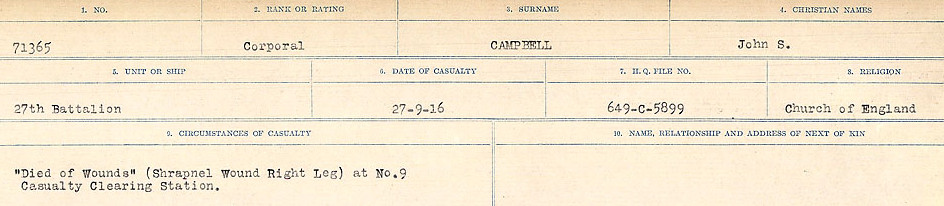 Circumstances of Death Registers– Source: Library and Archives Canada.  CIRCUMSTANCES OF DEATH REGISTERS, FIRST WORLD WAR Surnames:  Cabana to Campling. Microform Sequence 17; Volume Number 31829_B016726. Reference RG150, 1992-93/314, 161.  Page 829 of 1024
