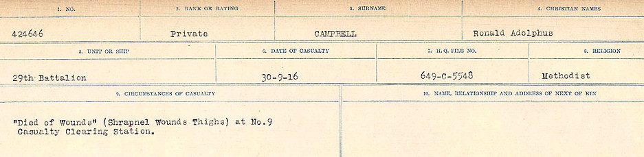 Circumstances of Death Registers– Source: Library and Archives Canada.  CIRCUMSTANCES OF DEATH REGISTERS, FIRST WORLD WAR Surnames:  Cabana to Campling. Microform Sequence 17; Volume Number 31829_B016726. Reference RG150, 1992-93/314, 161.  Page 927 of 1024