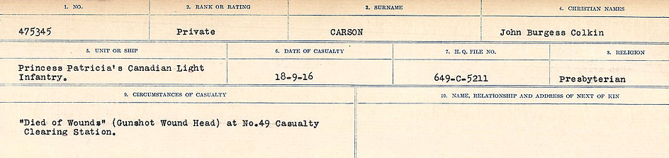 Circumstances of Death Registers– Source: Library and Archives Canada.  CIRCUMSTANCES OF DEATH REGISTERS, FIRST WORLD WAR Surnames:  Canavan to Caswell. Microform Sequence 18; Volume Number 31829_B016727. Reference RG150, 1992-93/314, 162.  Page 613 of 1004.