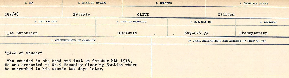 Circumstances of Death Registers– Source: Library and Archives Canada.  CIRCUMSTANCES OF DEATH REGISTERS, FIRST WORLD WAR Surnames:  CLEAL TO CONNOLLY.  Microform Sequence 21; Volume Number 31829_B016730. Reference RG150, 1992-93/314, 165.  Page 253 of 1384.